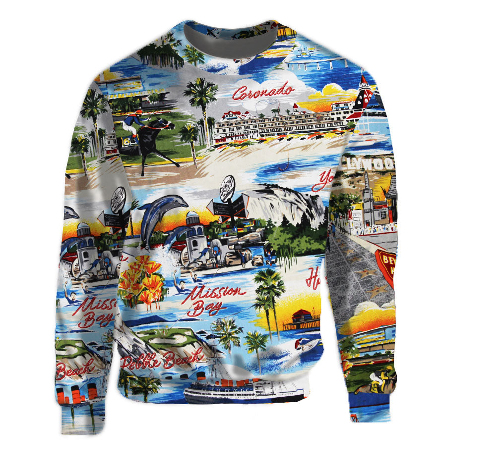 Nostalgia for the most memorable place in California comes to life with the California Postcard print crew neck sweatshirt  Warm & Soft 100% Premium Microfiber Polyester HD All-Over Graphic Print Pre-Shrunk Fabric Machine Wash and Dry