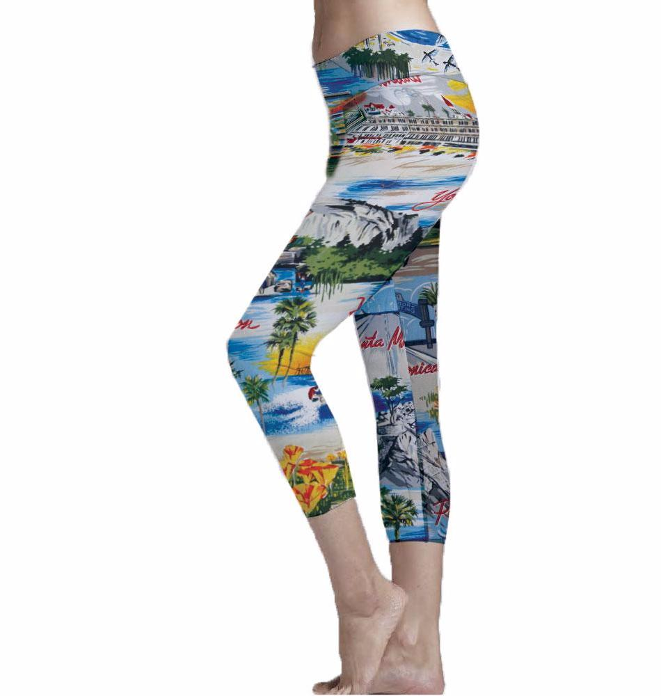 California Postcard Print Cropped Leggings made with recycle plastic bottle polyester fabric.  Super Soft Ultra Light Eco-Fabric Mid Shin Length Cropped Leggings Sustainable Activewear Ultra flattering wide waistband Durable flatlock stitching  Engineered 6 panel construction