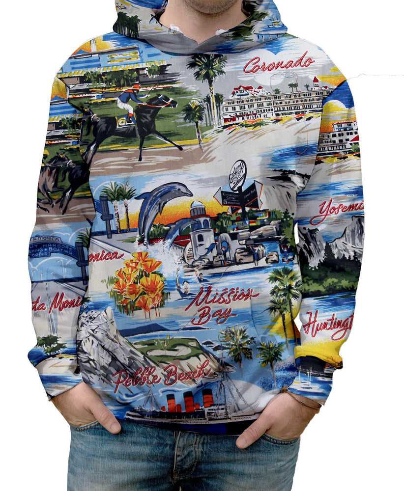 Nostalgic Prints California Postcard all over print vibrant multi-colored hooded sweatshirt.   Warm & Soft 100% Premium Microfiber Polyester