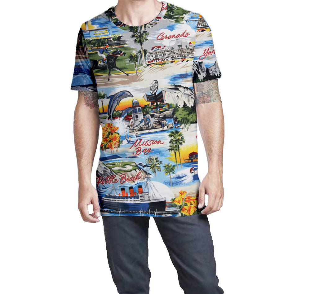 California Postcard Nostalgic Print Men's T-Shirt  Elongated Slender Length Styled to Please Supima Cotton Fabric