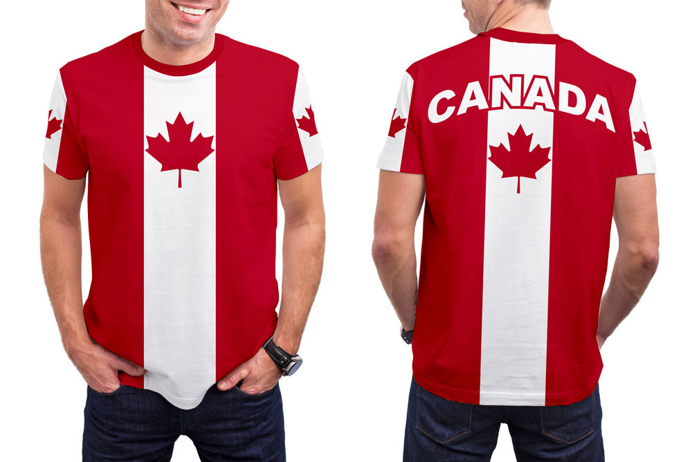 Canada Men's T-Shirt. Show your Olympic Pride in the Nostalgic Prints Nations Collection.  Styled to Please Supima Cotton Fabric Pre-Shrunk Fabric Machine Wash and Dry