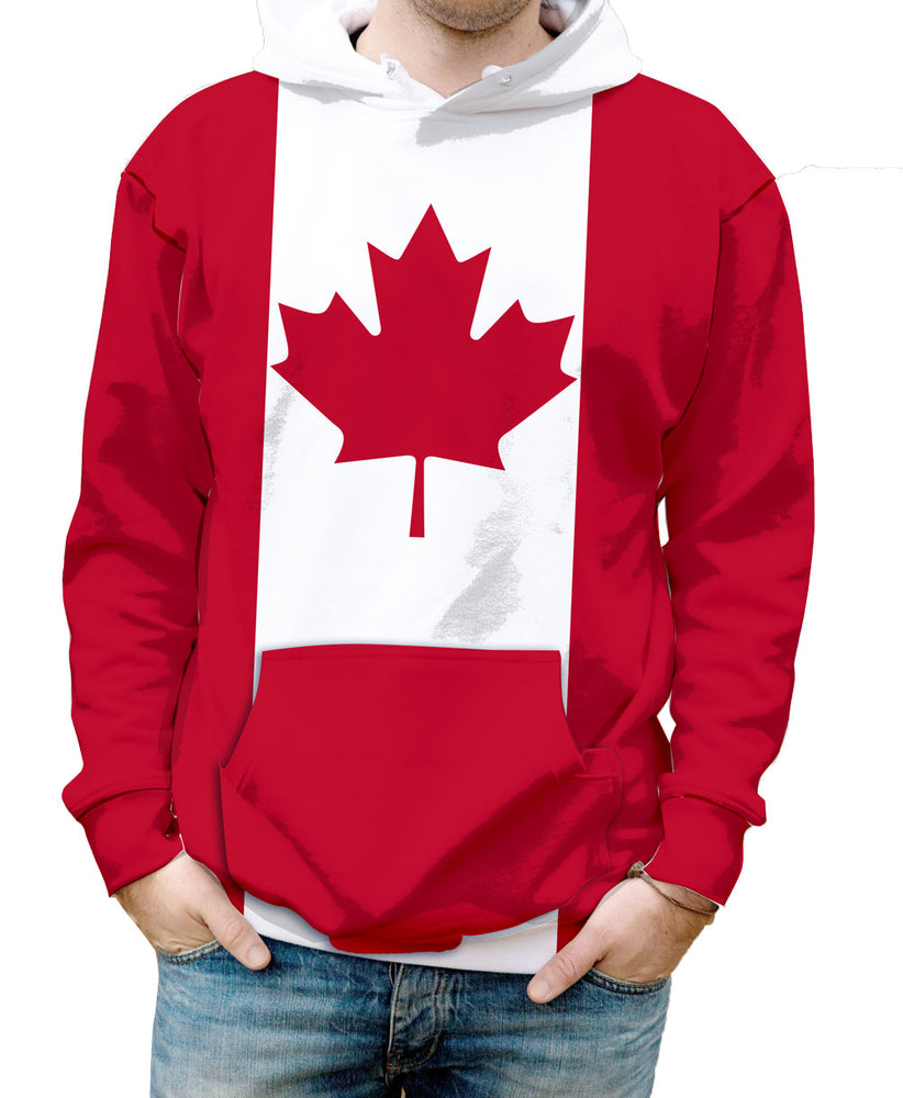 Canada Hooded Sweatshirt. Show your Olympic Pride in the Nostalgic Prints Nations Collection.  Warm & Soft 100% Premium Microfiber Polyester HD All-Over Graphic Print Pre-Shrunk Fabric