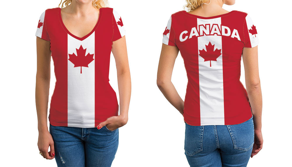 Canada Women's V-Neck T-Shirt. Show your Olympic Pride in the Nostalgic Prints Nations Collection.  Relaxed Fit V-Neck T-Shirt Styled to Please Supima Cotton Fabric Pre-Shrunk Fabric