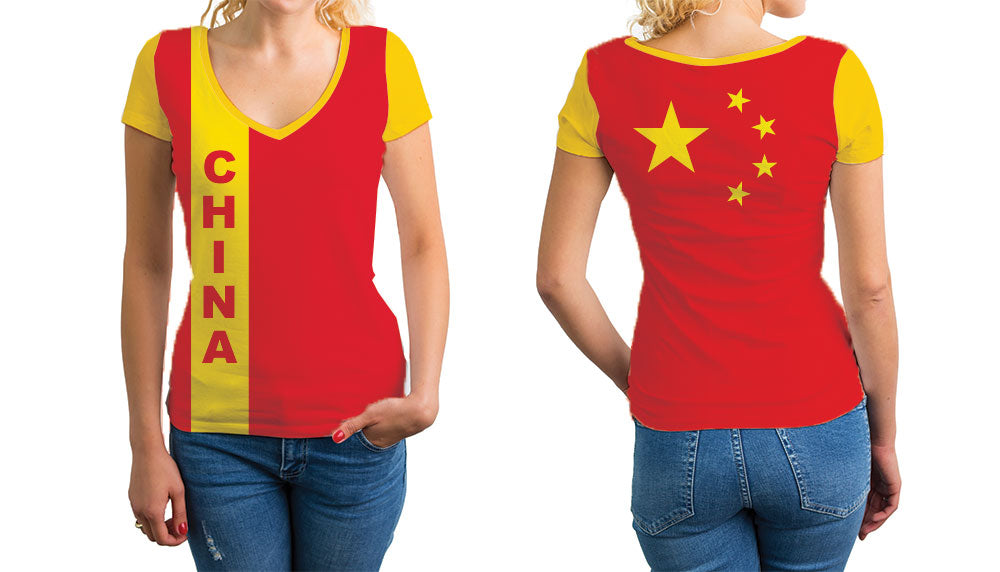 China Women's V-Neck T-Shirt. Show your Olympic Pride in the Nostalgic Prints Nations Collection.  Relaxed Fit V-Neck T-Shirt Styled to Please Supima Cotton Fabric Pre-Shrunk Fabric
