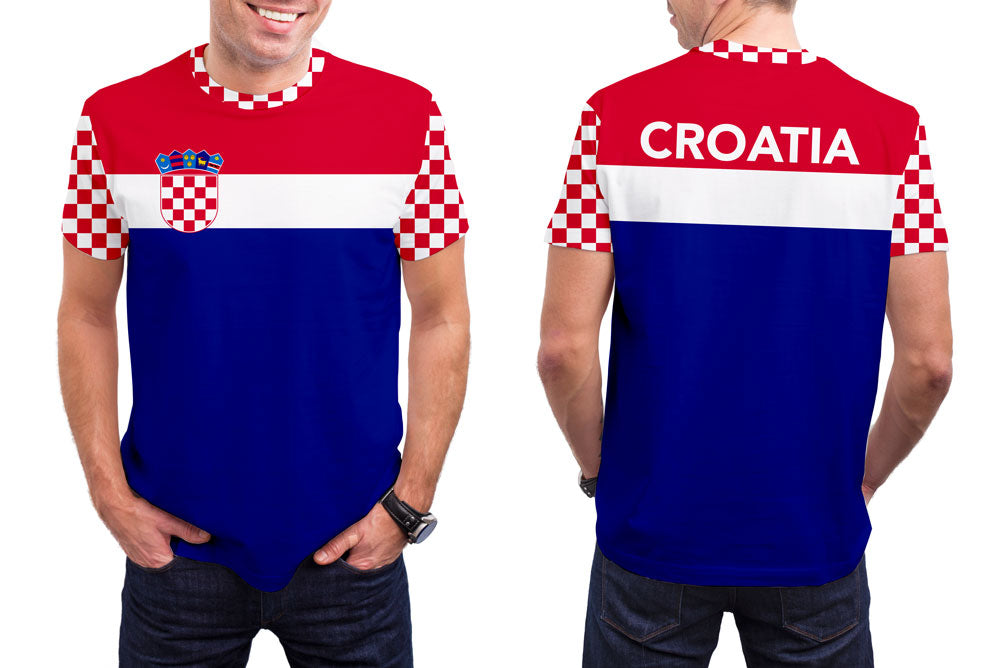 Croatia Men's T-Shirt. Show your Olympic Pride in the Nostalgic Prints Nations Collection.  Styled to Please Supima Cotton Fabric Pre-Shrunk Fabric