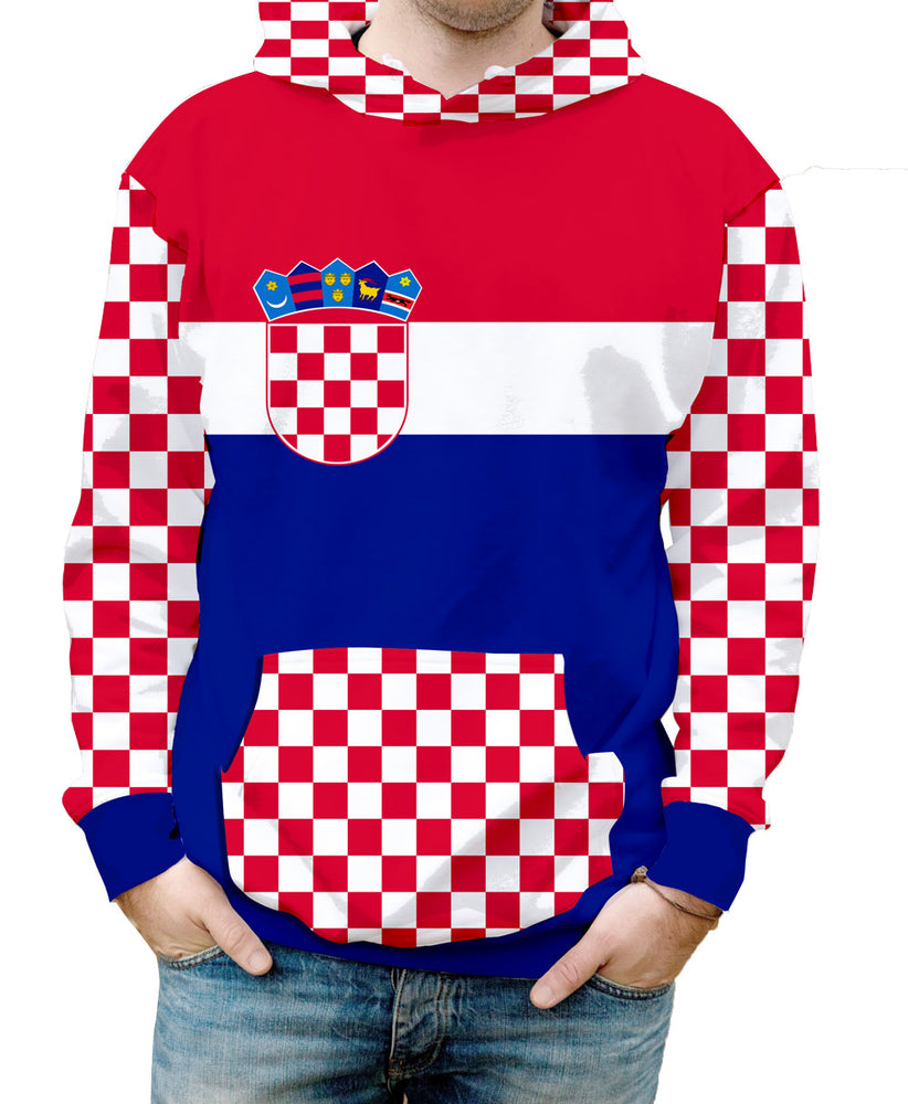 Croatia Hooded Sweatshirt. Show your Olympic Pride in the Nostalgic Prints Nations Collection.  Warm & Soft 100% Premium Microfiber Polyester HD All-Over Graphic Print Pre-Shrunk Fabric