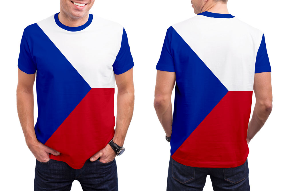 Czech Republic Men's T-Shirt. Show your Olympic Pride in the Nostalgic Prints Nations Collection.  Styled to Please Supima Cotton Fabric Pre-Shrunk Fabric Machine Wash and Dry