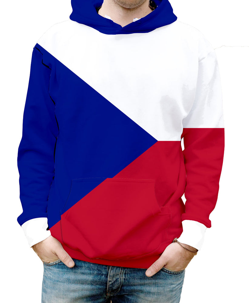 Czech Republic Hooded Sweatshirt. Show your Olympic Pride in the Nostalgic Prints Nations Collection.  Warm & Soft 100% Premium Microfiber Polyester HD All-Over Graphic Print Pre-Shrunk Fabric