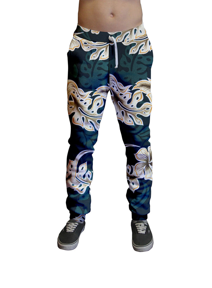 Emerald Lei Hawaiian Print Unisex Jogger.  Moisture Wicking Tapered Leg Pockets Soft Fleece Fabric Sturdy draw cord waistband