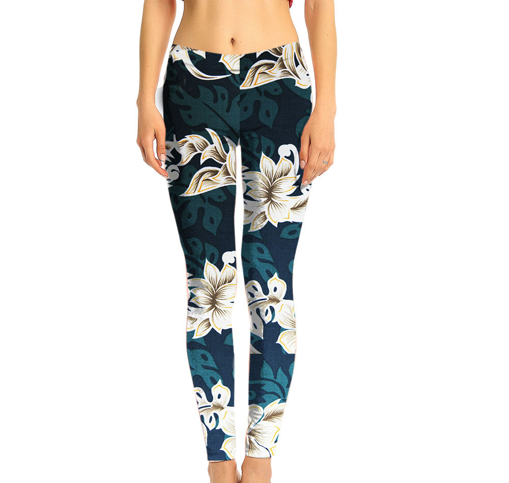 Emerald Lei Hawaiian Print Mid Rise Leggings