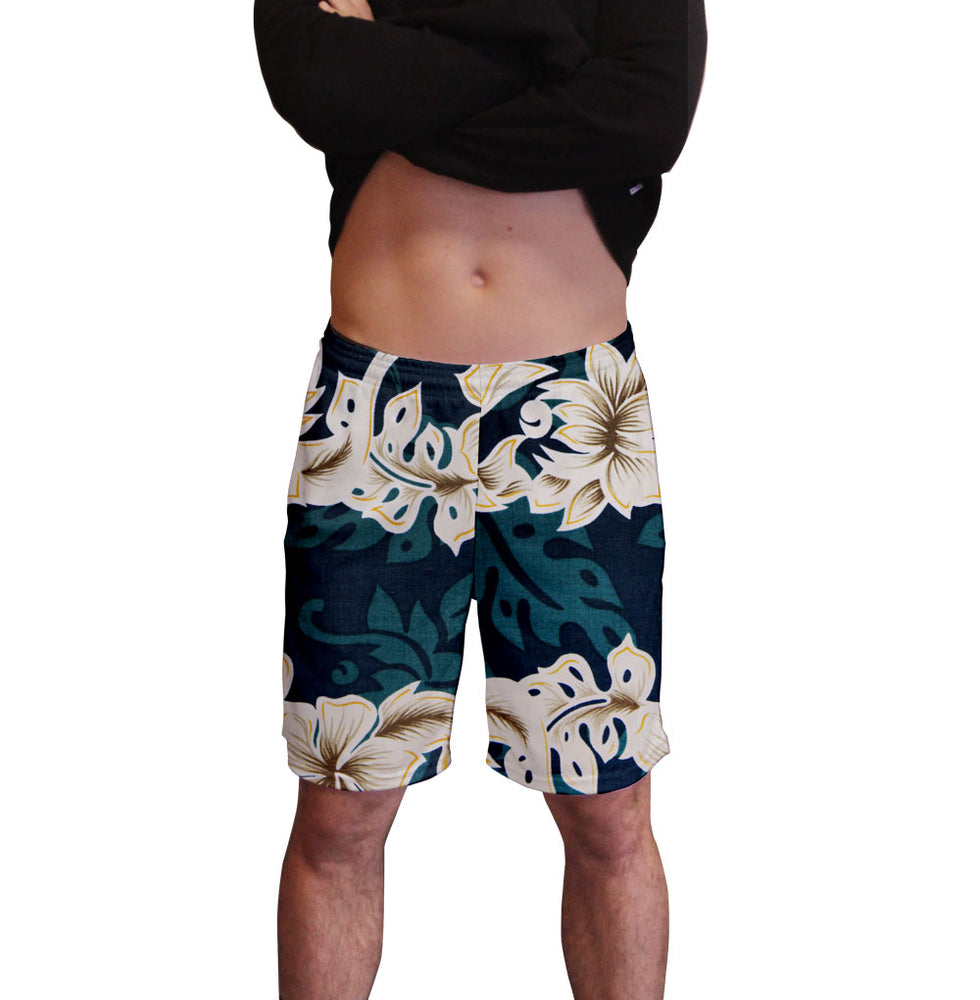 Emerald Lei Hawaiian Print Men's Active Short  Deep Pockets Fitted Activewear Moisture Wicking Polyester Fabric All Over Print Graphic