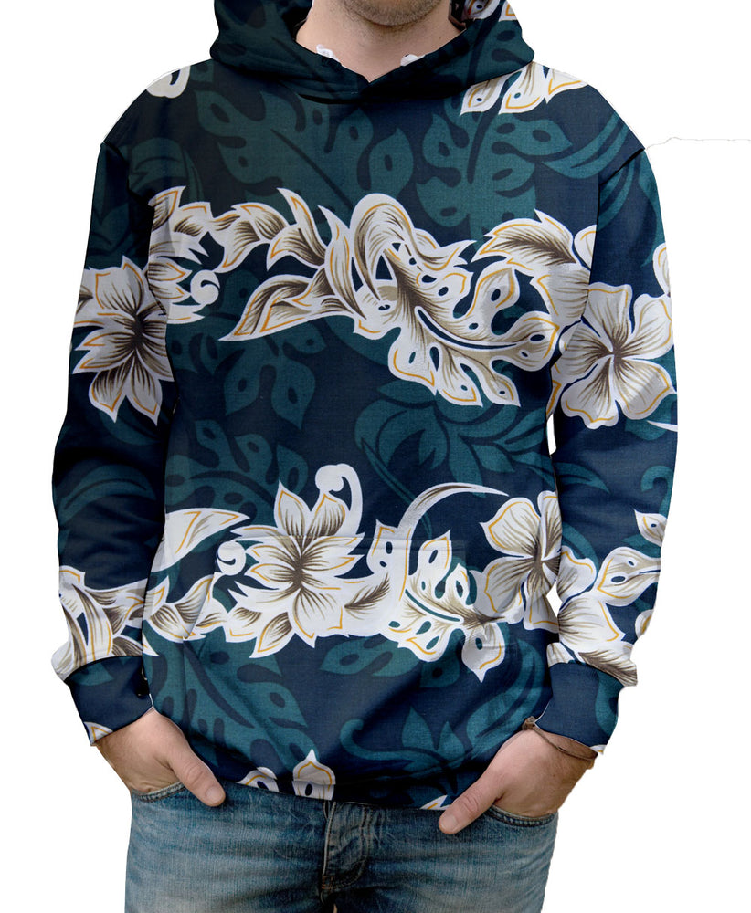 Nostalgic Prints Emerald Lei Hawaiian all over print vibrant multi-colored hooded sweatshirt.