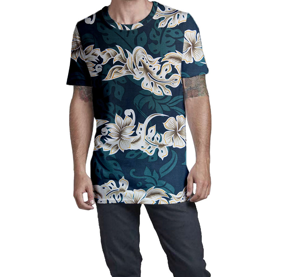 Emerald Lei Hawaiian Nostalgic Print Men's T-Shirt  Elongated Slender Length Styled to Please Supima Cotton Fabric