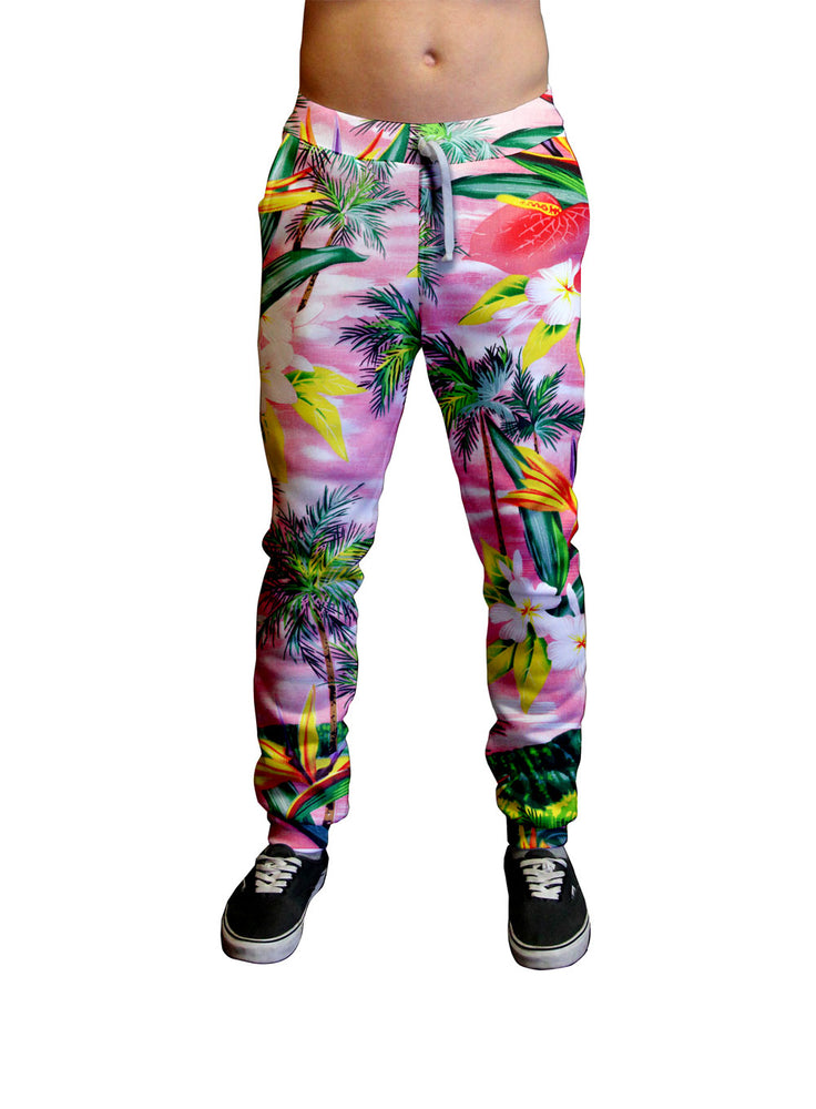 Fijian Sunset Floral Print Unisex Jogger.  Moisture Wicking Tapered Leg Pockets Soft Fleece Fabric Sturdy draw cord waistband