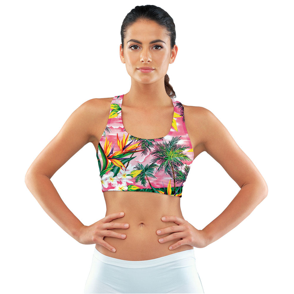 Fijian Sunset Racerback Sports Bra made with our sustainable Ultra Soft Eco-Fabric from recycled plastic. Engineered for the active lifestyle with a smooth cool feel.