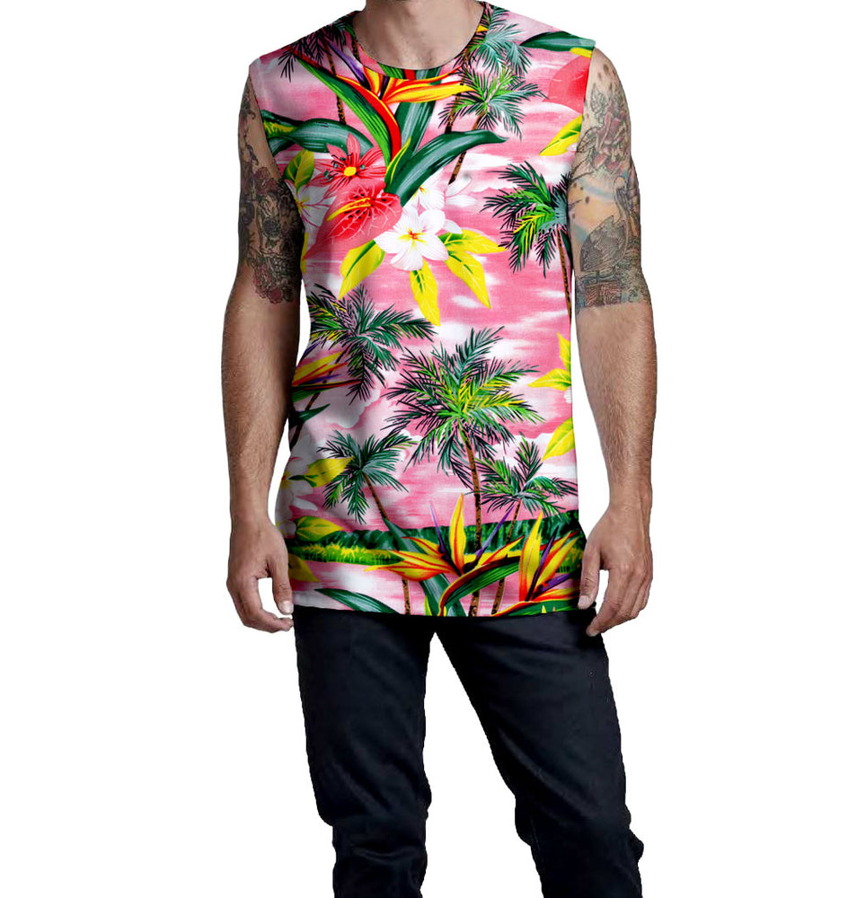 Fijian Sunset Pink & Floral Print Pattern on the Nostalgic Prints Sleeveless Muscle T-Shirt  Fitted Sleeveless Muscle Tee Styled to Please Supima Cotton Fabric Pre-Shrunk Fabric Machine Wash and Dry Made in the USA