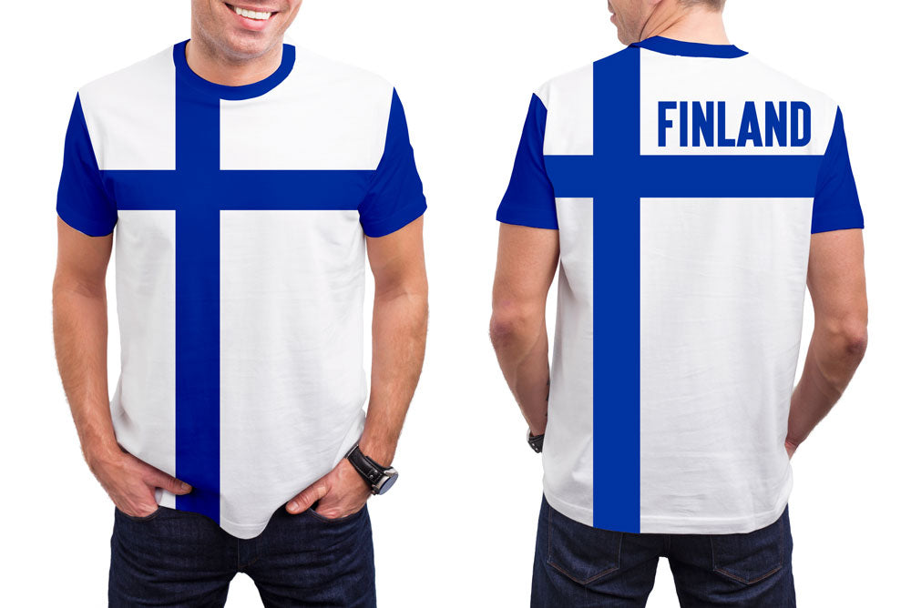 Finland Men's T-Shirt. Show your Olympic Pride in the Nostalgic Prints Nations Collection.  Styled to Please Supima Cotton Fabric Pre-Shrunk Fabric Machine Wash and Dry