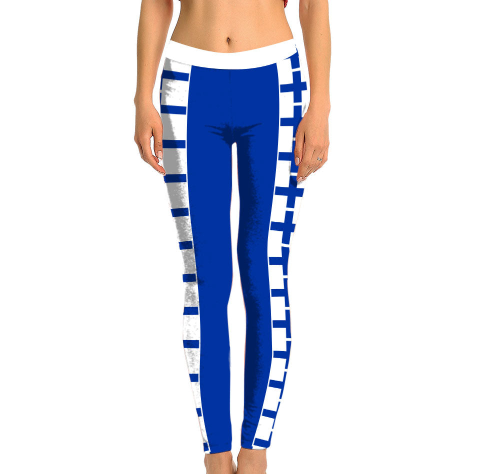 Finland Full Length Leggings. Show your Olympic Pride in the Nostalgic Prints Nations Collection. Made with fabric milled from recycled plastic bottles.  Super Soft Ultra Light Eco-Fabric Sustainable Activewear Ultra flattering wide waistband Durable flatlock stitching
