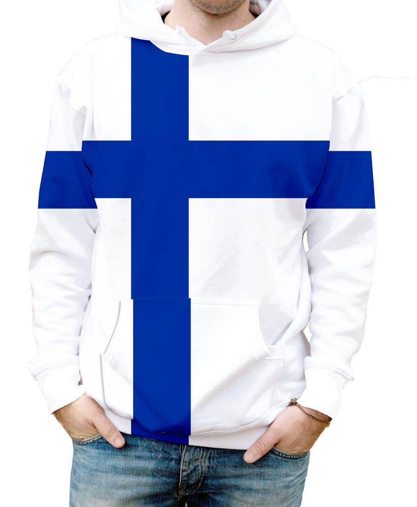 Finland Hooded Sweatshirt. Show your Olympic Pride in the Nostalgic Prints Nations Collection.  Warm & Soft 100% Premium Microfiber Polyester HD All-Over Graphic Print Pre-Shrunk Fabric