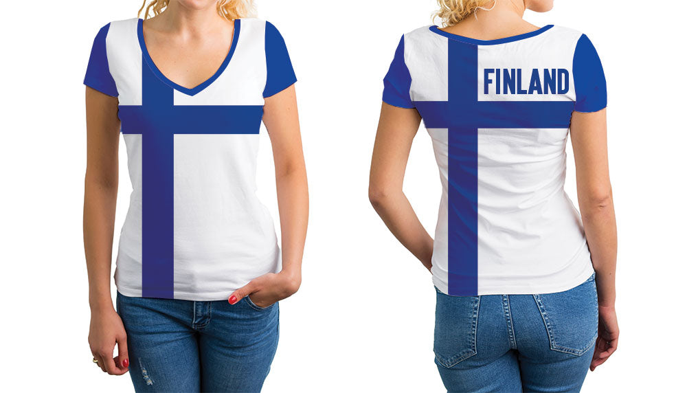 Finland Women's V-Neck T-Shirt. Show your Olympic Pride in the Nostalgic Prints Nations Collection.  Relaxed Fit V-Neck T-Shirt Styled to Please Supima Cotton Fabric Pre-Shrunk Fabric