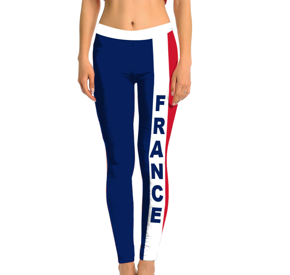 France Full Length Leggings. Show your Olympic Pride in the Nostalgic Prints Nations Collection. Made with fabric milled from recycled plastic bottles.  Super Soft Ultra Light Eco-Fabric Sustainable Activewear Ultra flattering wide waistband Durable flatlock stitching