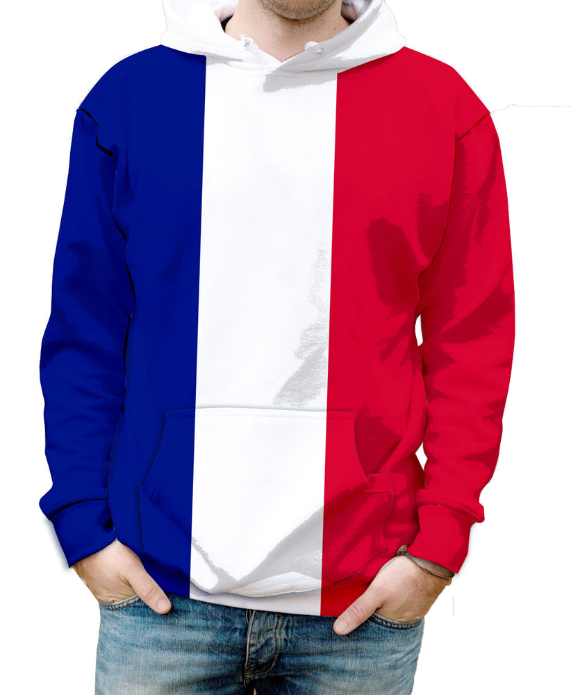 France Hooded Sweatshirt. Show your Olympic Pride in the Nostalgic Prints Nations Collection.  Warm & Soft 100% Premium Microfiber Polyester HD All-Over Graphic Print Pre-Shrunk Fabric