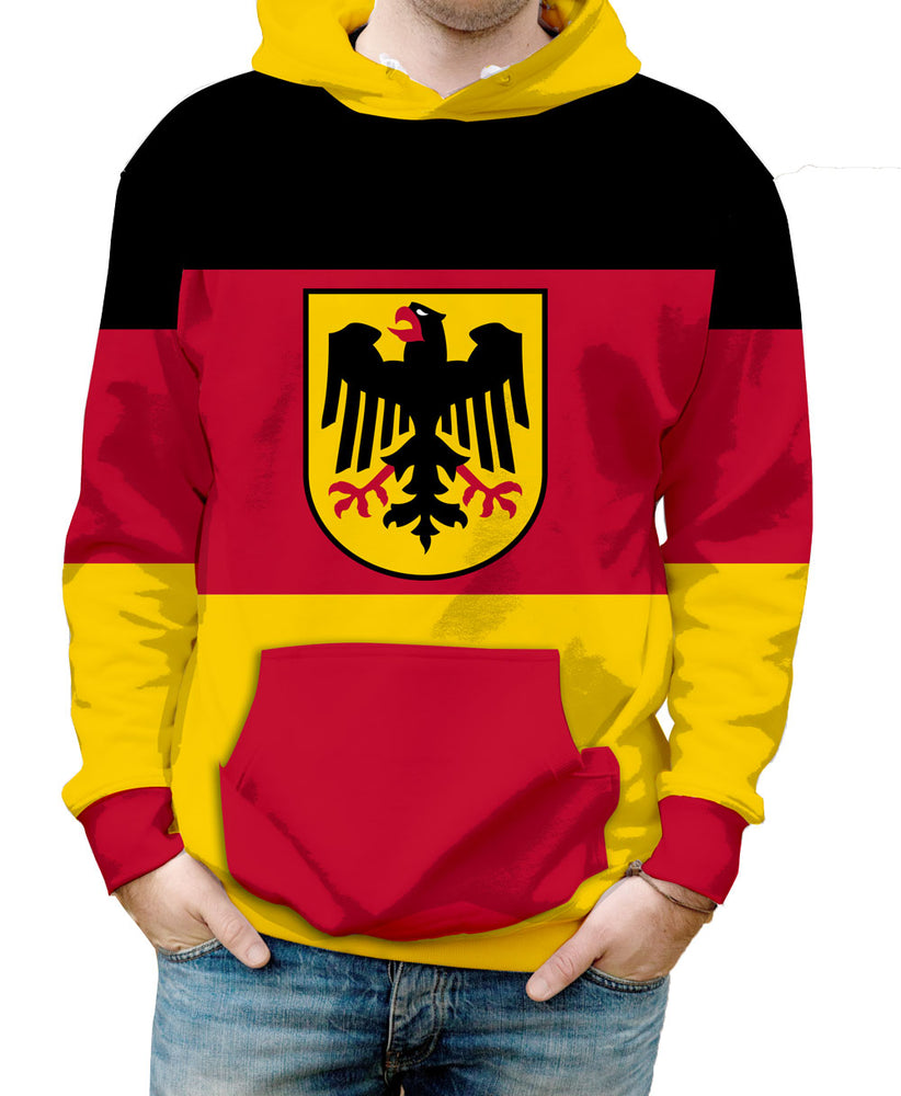 Germany Hooded Sweatshirt. Show your Olympic Pride in the Nostalgic Prints Nations Collection.  Warm & Soft 100% Premium Microfiber Polyester HD All-Over Graphic Print Pre-Shrunk Fabric