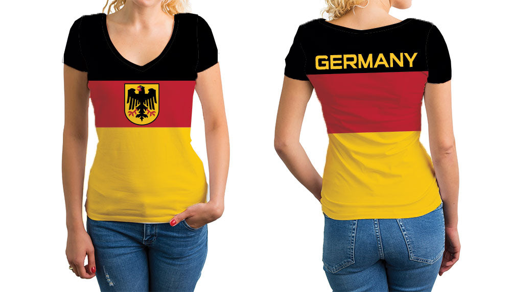Germany Women's V-Neck T-Shirt. Show your Olympic Pride in the Nostalgic Prints Nations Collection.  Relaxed Fit V-Neck T-Shirt Styled to Please Supima Cotton Fabric Pre-Shrunk Fabric
