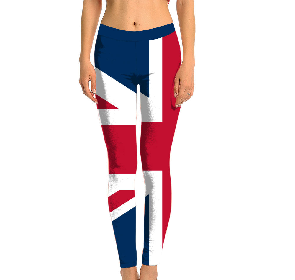 Great Britain Full Length Leggings. Show your Olympic Pride in the Nostalgic Prints Nations Collection. Made with fabric milled from recycled plastic bottles.  Super Soft Ultra Light Eco-Fabric Sustainable Activewear Ultra flattering wide waistband Durable flatlock stitching