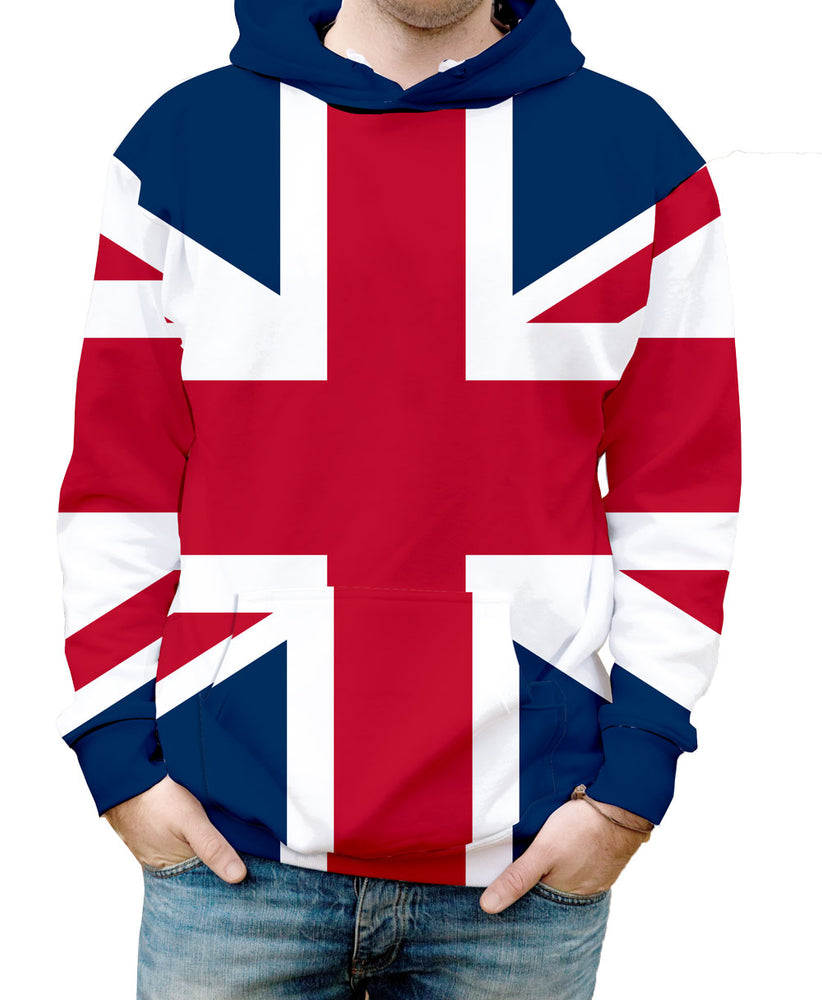 Great Britain Hooded Sweatshirt. Show your Olympic Pride in the Nostalgic Prints Nations Collection.  Warm & Soft 100% Premium Microfiber Polyester HD All-Over Graphic Print Pre-Shrunk Fabric