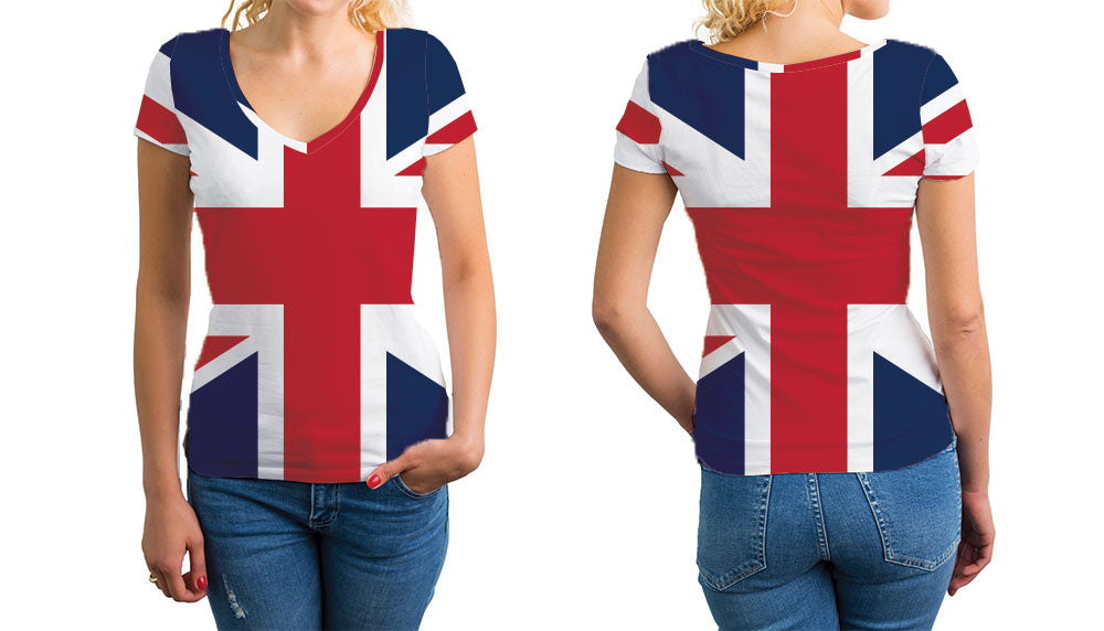 Great Britain Women's V-Neck T-Shirt. Show your Olympic Pride in the Nostalgic Prints Nations Collection.  Relaxed Fit V-Neck T-Shirt Styled to Please Supima Cotton Fabric Pre-Shrunk Fabric