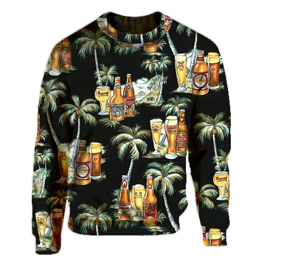 Black Tahitian Beer and Palm Tree Print Crew Neck Sweatshirt.