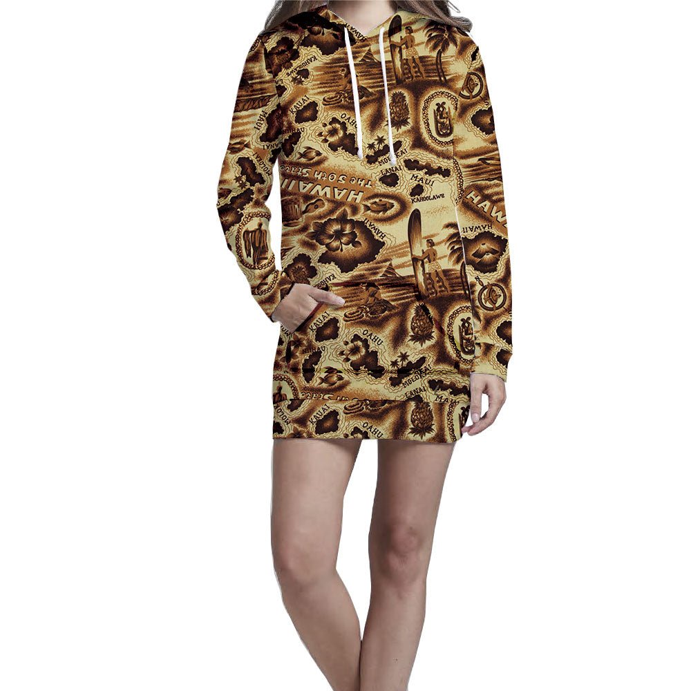 Antiqued Hawaiian Islands Ladies Hoodie Dress. Casual, warm, and stylish hoodie dress. Slim fit with ultra soft inner lining to keep you warm during any outdoor chilled event.  Warm & Soft 100% Premium Microfiber Polyester HD All-Over Graphic Print