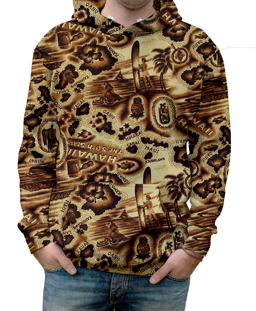 The Antiqued Hawaiian Islands Hoodie is so warm it almost feels like the real thing!  Warm & Soft 100% Premium Microfiber Polyester HD All-Over Graphic Print Pre-Shrunk Fabric Machine Wash and Dry
