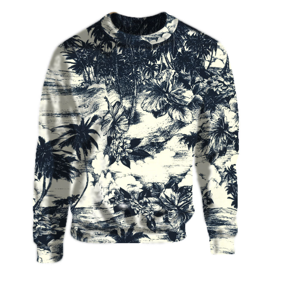 Navy and White Cream Floral Print Crew Neck