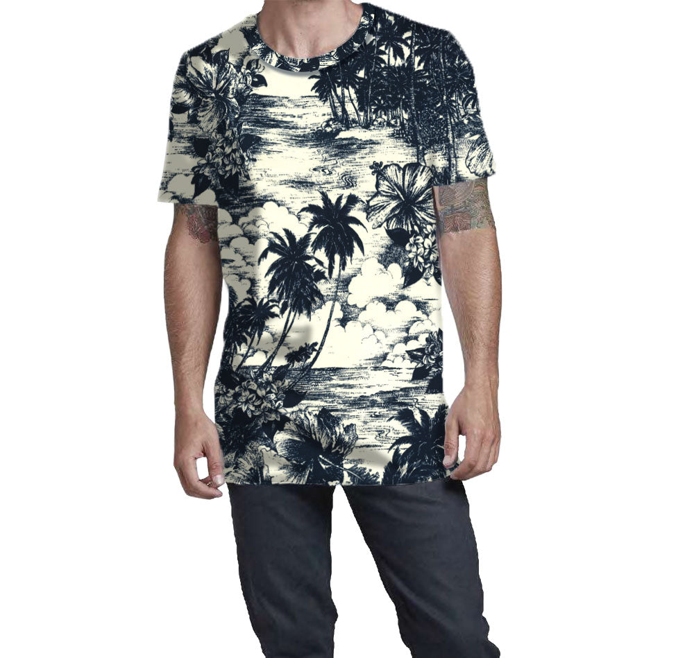 All Over Print Navy and Cream Hawaiian T-Shirt