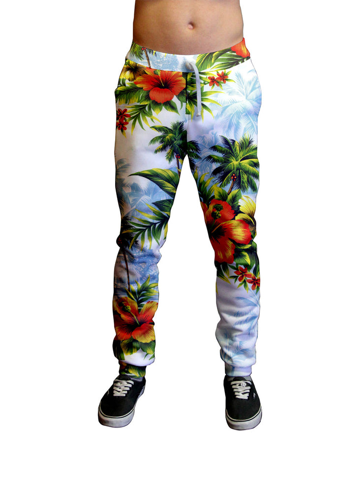 Hibiscus Dream Hawaiian Print Unisex Jogger.  Moisture Wicking Tapered Leg Pockets Soft Fleece Fabric Sturdy draw cord waistband HD All-Over Graphic Print