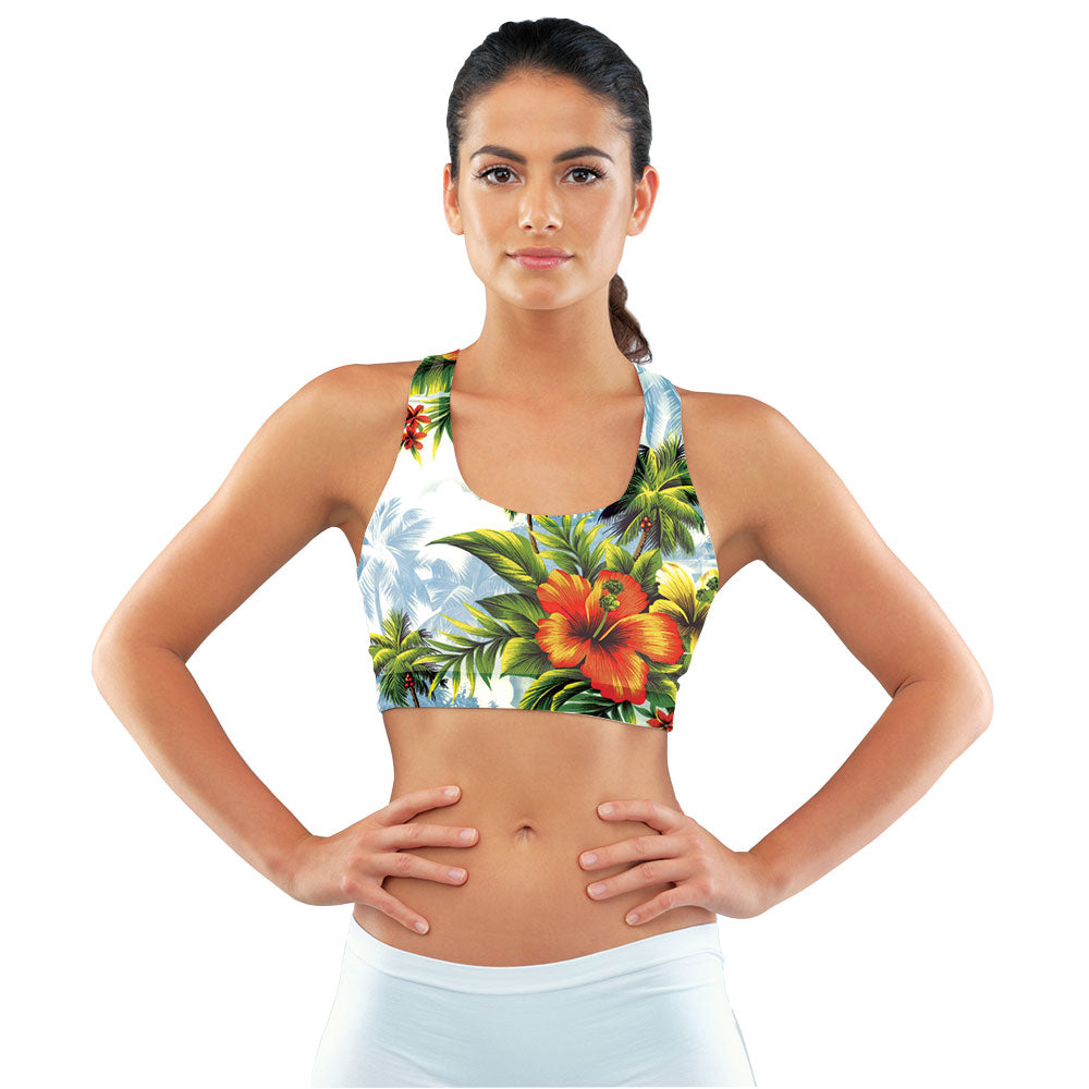 Hibiscus Dream Racerback Sports Bra made with our sustainable Ultra Soft Eco-Fabric from recycled plastic. Engineered for the active lifestyle with a smooth cool feel.