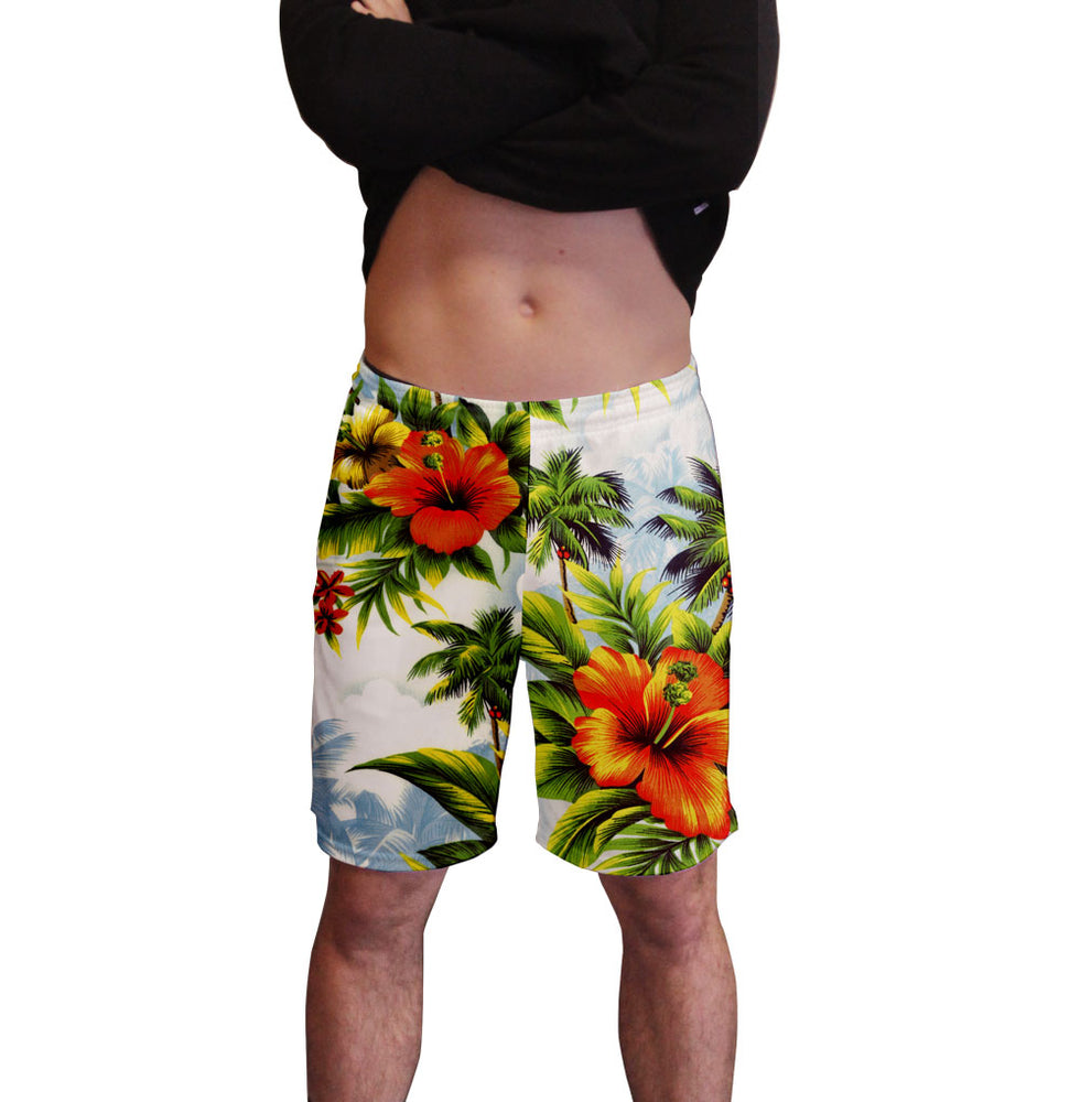Hibiscus Dream Hawaiian Print Men's Active Short  Deep Pockets Fitted Activewear Moisture Wicking Polyester Fabric All Over Print Graphic