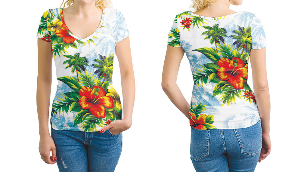 Hawaiian Print Womens V-Neck T-Shirt