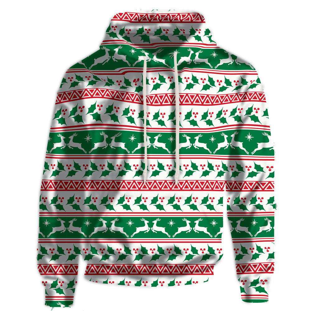 Christmas Holly and Deer Hooded Sweatshirt