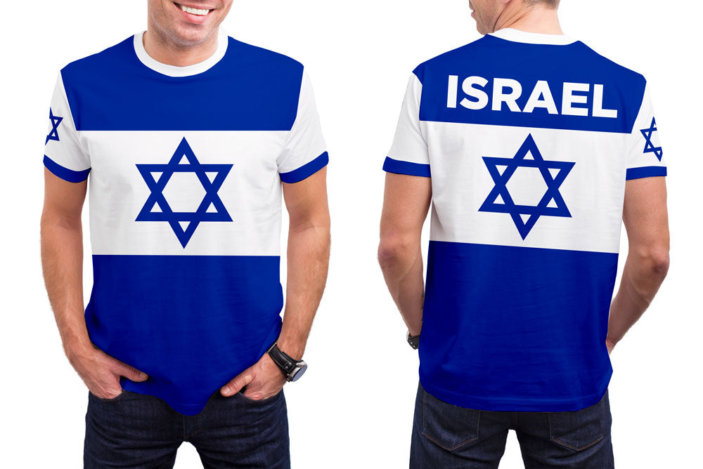 Israel Men's T-Shirt. Show your Olympic Pride in the Nostalgic Prints Nations Collection.  Styled to Please Supima Cotton Fabric Pre-Shrunk Fabric