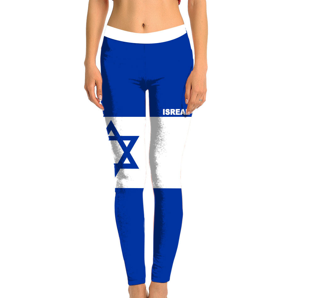 Israel Full Length Leggings. Show your Olympic Pride in the Nostalgic Prints Nations Collection. Made with fabric milled from recycled plastic bottles.  Super Soft Ultra Light Eco-Fabric Sustainable Activewear Ultra flattering wide waistband Durable flatlock stitching