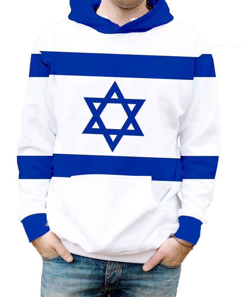 Israel Hooded Sweatshirt. Show your Olympic Pride in the Nostalgic Prints Nations Collection.  Warm & Soft 100% Premium Microfiber Polyester HD All-Over Graphic Print Pre-Shrunk Fabric