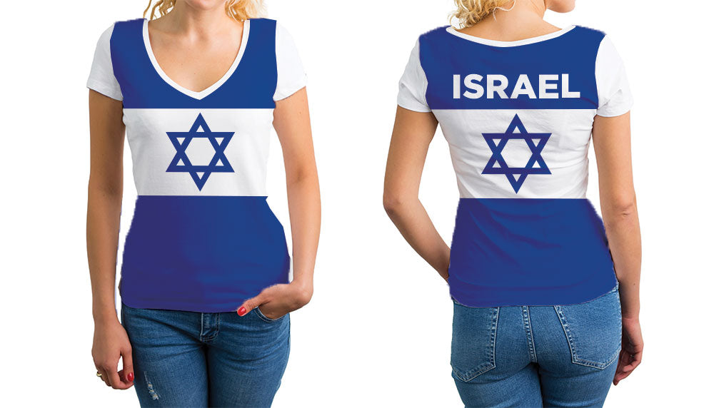 Israel Women's V-Neck T-Shirt. Show your Olympic Pride in the Nostalgic Prints Nations Collection.  Relaxed Fit V-Neck T-Shirt Styled to Please Supima Cotton Fabric Pre-Shrunk Fabric