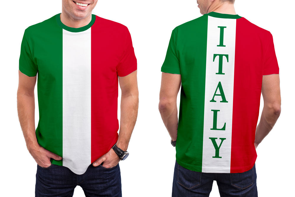 Italy Men's T-Shirt. Show your Olympic Pride in the Nostalgic Prints Nations Collection.  Styled to Please Supima Cotton Fabric Pre-Shrunk Fabric