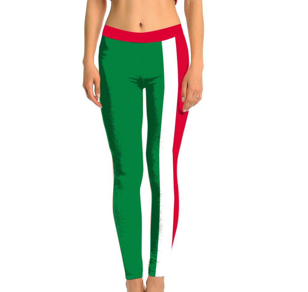 Italy Full Length Leggings. Show your Olympic Pride in the Nostalgic Prints Nations Collection. Made with fabric milled from recycled plastic bottles.  Super Soft Ultra Light Eco-Fabric Sustainable Activewear Ultra flattering wide waistband Durable flatlock stitching