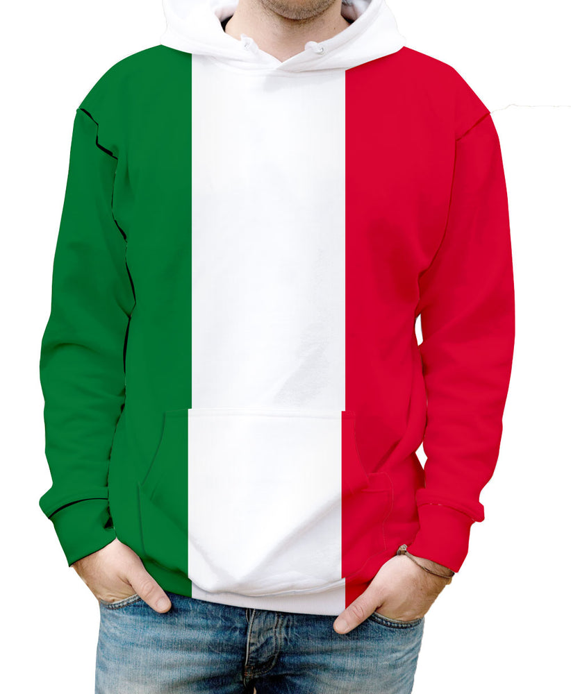 Italy Britain Hooded Sweatshirt. Show your Olympic Pride in the Nostalgic Prints Nations Collection.  Warm & Soft 100% Premium Microfiber Polyester HD All-Over Graphic Print Pre-Shrunk Fabric