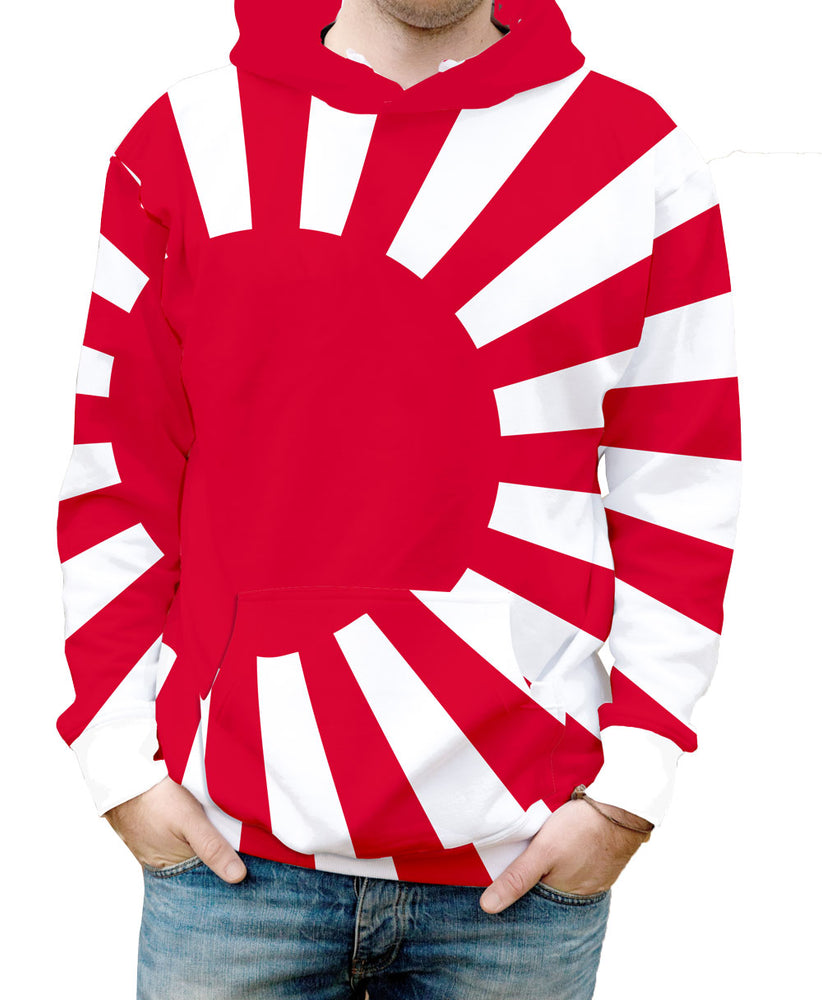 Japan Hooded Sweatshirt. Show your Olympic Pride in the Nostalgic Prints Nations Collection.  Warm & Soft 100% Premium Microfiber Polyester HD All-Over Graphic Print Pre-Shrunk Fabric Machine Wash and Dry