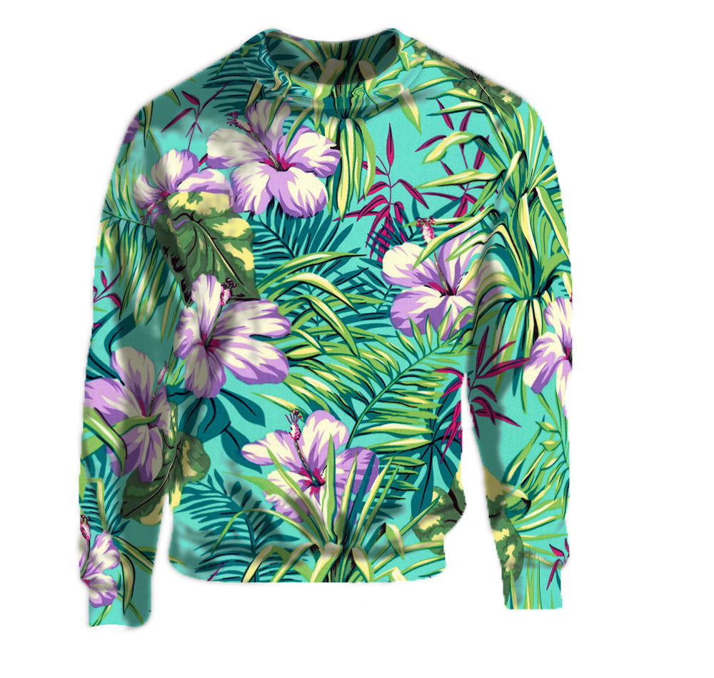 Tropical print purple lilac hibiscus and palm frond pattern on the crew neck sweatshirt.